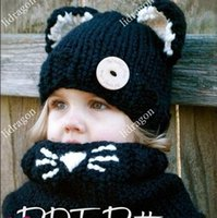 Wholesale New Fashion Baby Girls Lovely Hat Scarf Kids Knit Hats Knitting Wool Collar Cat Ears Child Hat Warmer Neck Scarf Winter Hats