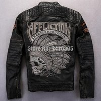 artwork jacket - Fall cowhide men full measure Motorcycle jacket American Custom Inspired Artwork Vintage Wash cow hide genuine leather jacket
