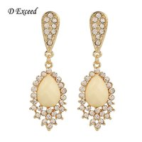 american brass and crystal chandeliers - Cream Beads Inlaid Long Crystal Earrings Gold Plated Drop Earrings for Ladies Charm and Sweet Bridal Style Jewelry Accessories ER153257