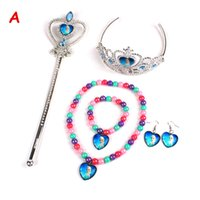 Wholesale FR76 Sets Imperial Crown Magic Wand Necklace Bracelet Earrings Elsa Anna Cartoon Sets Kids Children Holiday Christmas Gift