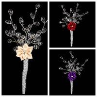 best corsage flowers - Best Selling Rose Flower Adorned Wedding Groomsman Brooch In Stock Crystal Wedding Accessories Bridegroom Corsage Brdal Wear Decoration