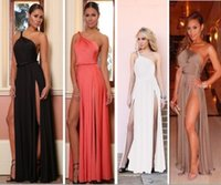 america skirt - Burst models in Europe and America sexy halter shoulder straps double high slit dress skirt B