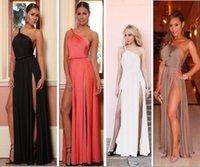 Wholesale Burst models in Europe and America sexy halter shoulder straps double high slit dress skirt B