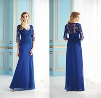dhg - Plus Size V Neck dhg Long Sleeves Mother of the Bride Groom Dresses Chiffon Blue Long Evening Gowns Formal Dress For Wedding Bridal