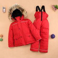 Wholesale winter children windproof ski jacket ski pant winter kids snow suit sets outdoor wear windproof Clothing Sets