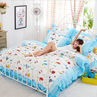 balloon skirt - Fire Balloon Quality Korea Style Floral Printing Bedding Set Gift Women Girls Lace Bed Skirt Duvet Cover Pillowcase Comforter Bedding Sets