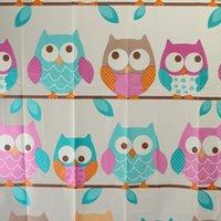 Wholesale Fashion Thick PEVA Waterproof Shower Curtain With Hooks Cute Cartoon Owls Home Bathroom Products Bath Supplies