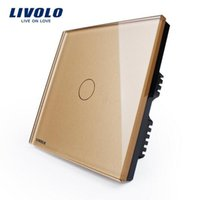 Wholesale LIVOLO Golden Glass Panel VL C301 V gang only for UK standard Touch Light Switch with LED indicator