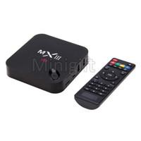 Wholesale MX3 MXIII Android TV BOX Amlogic S802 Quad Core KODI XBMC Fully Preloaded K Set Top Box Free HD Stream Live IPTV Movies Google Media Player