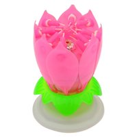 Wholesale 2015 New Hot Flower Birthday Candle Amazing Happy Birthday Blossom Lotus Music Candle Lamp Romantic Party Gift