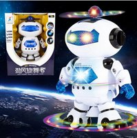 Wholesale 2015 New Robert Version Of Space Dancing Dance Robots Rotate Degrees With Light Music Lectronic With Music Toys Lightening Best Christma