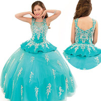 Cheap Reference Images 2015 wedding dress Best Girl Applique Beauty pageant