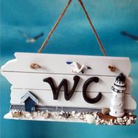Wholesale Mediterranean Style Nordic Wooden WC Shingle Doorplate Plaque Sign WC Decoration Accessories Home Door Wood Welcome