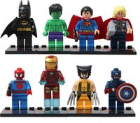 Wholesale minifigure Super Heroes The Avengers Iron Man Hulk Batman Wolverine Thor Building Blocks Sets Minifigure DIY Bricks Toys without package box