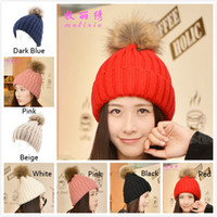Wholesale 2015 Lady Real Racoon Fur Pom Pom Wool Knit Winter Bobble Hat Cap Beanie Women Casual Hairball Black White Blue Beige Pink Red