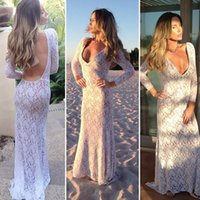 Wholesale New Women Ladies Elegant Dresses Floor Length Fashion Long Sleeve V Neck Sexy Backless Lace Party Dress b4