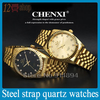 Wholesale Golden New Clock gold Fashion Men watch full gold Stainless Steel Quartz watches Wrist Watch CHENXI Gold watch men