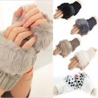 Wholesale 5Pairs New Arm Warmer Fingerless Gloves Knitted Fur Trim Gloves Mitten