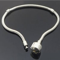 Wholesale Top fashion silver plated pandora snake chains bracelets DIY jewelry accessories fit for charm bracelet