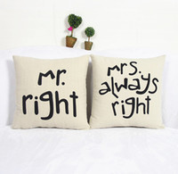 Wholesale 1 Set Simple Signature Couple Fun Mr Right Mrs Always Right Linen Pillow Case Cushion Cover