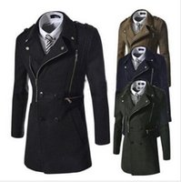 hot sale 2015New Mens Wool Jackets Long Sleeve Mens Trench Jackets Zipper Turn-down Collar Casual Outdoor Windproof Trench Coats