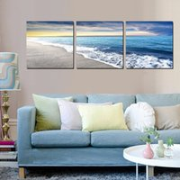 Wholesale 3 Pieces Modern Painting Art Paint on Canvas Prints sandy beach sea Sunshade Bamboo crane brook mountain waterfall tree nature rivers flower