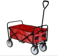 Wholesale Folding Collapsible Utility Wagon Garden Cart Shopping Buggy Yard Beach Blue Red