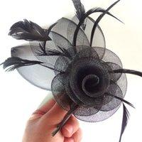 Wholesale 12pcs Handmade Feather Hair Fascinator Wedding Party Bride Woman Girls Flower Hair accessories Mini top hat