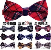mens neckwear - NEW Men Classic Plaid Bow ties Fashion Neckwear Adjustable Unisex Mens cotton Bowties for wedding Polyester Pre Tied