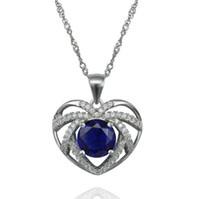 Livraison gratuite meilleur coeur cadeau de l'océan bleu zircon 925 pendentif en argent sterling gros- MSP00249