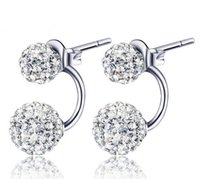 Cheap 2016 Real 925 Sterling Silver Cute Clear Crystal Shambhala Ball Stud Earrings for Women Fashion Jewelry Wholesale