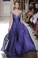attach bead cap - Zuhair Murad Regency Chiffon Prom Dresses Illusion Neck Crystal Beads Flowers Attached Purple Evening Dresses Formal Gown