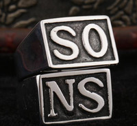 Wholesale Size Super Quality Sons Anarchy Ring SO NS Stainless Steel Unique Punk Ring Jewelry Man Fashion