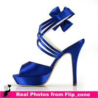 Cheap Royal Blue Satin Ankle Straps Flowers Wedding Sandals Shoes for Girls with Open Toe High Stiletto Heels Bridal Party Bridesmaid Dress Shoes
