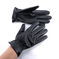 Wholesale Cool Mens Leather Gloves - Wholesale-Mens Boys Leather Gloves Bike Sport Cool Mitten Gloves Warm Wear Drving Free Shipping