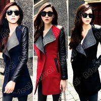 leather trench coat - Women Lady Long Warm Leather Sleeve Jacket Coat Trench