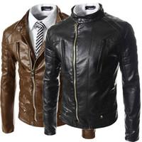 Wholesale 2015 New leather jacket men spring winter coat stand up collar chaquetas de cuero hombre brown color jaqueta couro