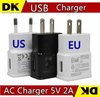 Wholesale USB Wall Charger V A AC Travel Home Charger Adapter US EU Plug for Samsung Galaxy S3 S4 S5 I9600 Note N9000 White Black MQ100