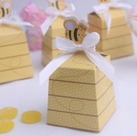 bee card - New fashion lovely bee gold favor boxes wedding candy box with bee event party gift box wedding supplies baby birthday candy box