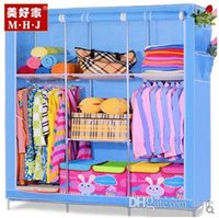 Wholesale new simple wardrobe cloth wardrobe frame structure reinforced double wardrobe cloth wardrobe simple