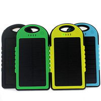 Wholesale solar power bank portable waterproof Panel Shockproof mobile solar phone charger with dual usb ports Flashlight for CellPhone Laptop OTH013