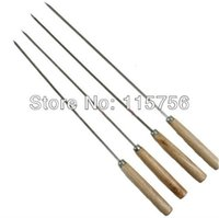 Wholesale 34cm length stainless steel flat skewer bbq grill stick with wooden handle