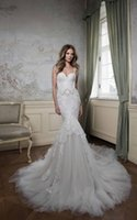 Wholesale The Best Selling Exquisite Sexy Wedding Dresses Mermaid Spaghetti Strap Backless Sleeveless Floor Length Cathedral Lace Beading Bridal Gowns