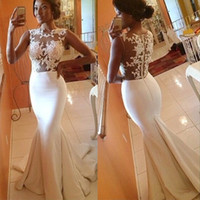 Cheap 2016 Lace Wedding Dresses Mermaid Dresses Sexy Illusion Lace Top Satin Fishtail Skirt Trumpet Wedding Gowns Cheap Real Photo Dress