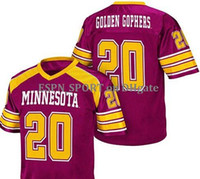 Wholesale Minnesota Golden Gophers Football Jersey SEWN NEW red Stitched Name and number football Jersey