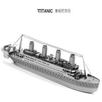 Wholesale DIY Titanic d Three dimensional nano metal miniature sculpture jigsaw puzzle Desk ornament D Puzzle DIY Model beautiful gift