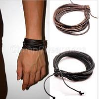 Wholesale 2014 New Brand PU Leather Bracelet For Men Braided Rope Men Bracelet Fashion Jewelry