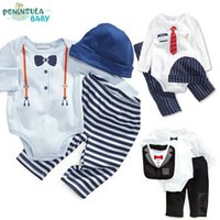 baby knickers outfit - 3 set Baby Boys Tuexdo Romper Knickers Outfit Set Printed Bow Jumpsuits pants hat baby Onepiece onesies M years