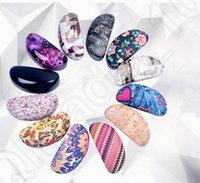 Wholesale 11 design Perforated Leather Clam Shell Sunglasses Eye Glasses Hard Case Reptile Leather Eye Glasses Hard Case LJJK68