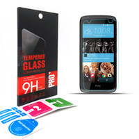Wholesale 0 mm H D Tempered Glass Screen Protector Explosion proof Protective Film Guard For HTC Desire With Retail Box